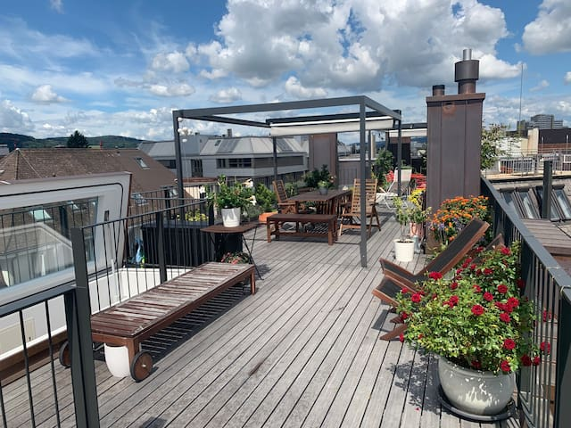 Modern, bright loft with private rooftop, Zurich