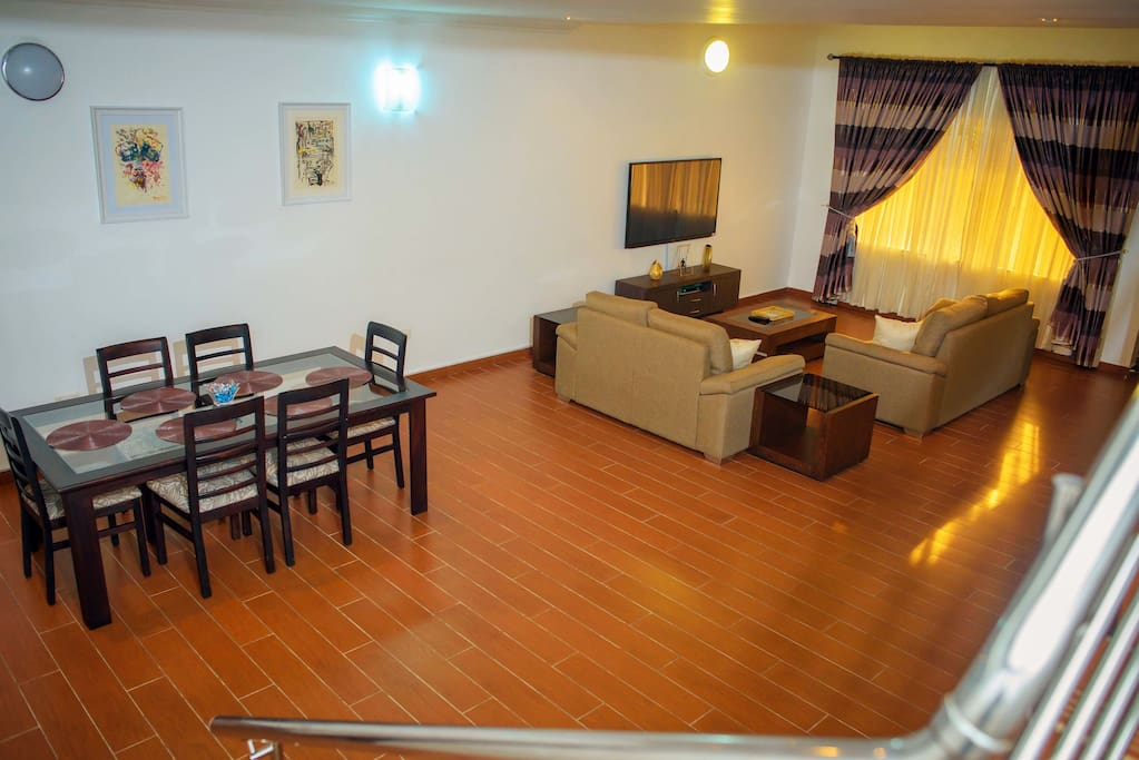 Aerial view of Living Room 1 & Dining Area.