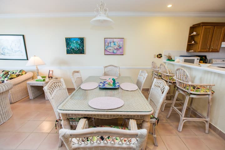 spacious dining room table