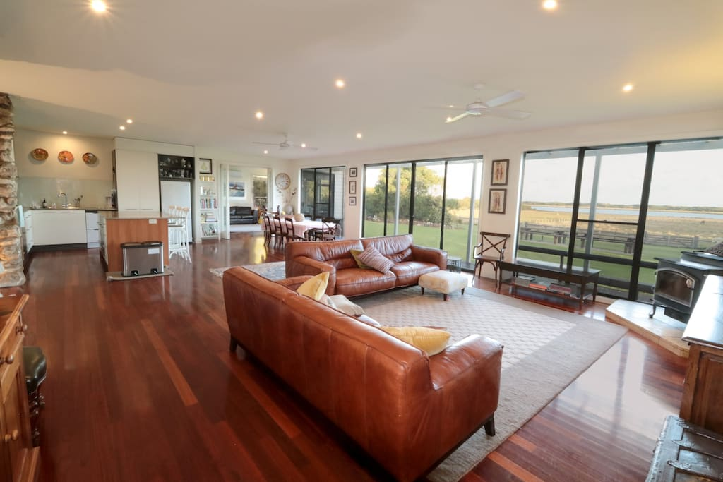 Spacious open-plan living spaces with breathtaking views of the lake (Belfast Lough) and dunes of Port Fairy's East Beach