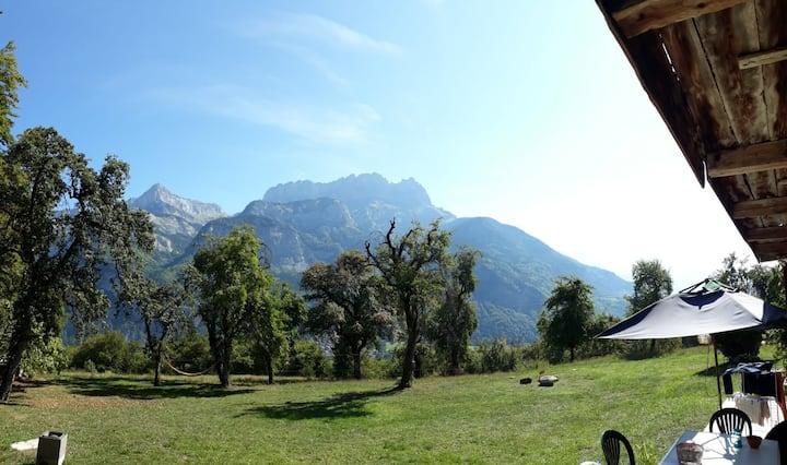 Ferme traditionnelle rénovée jardin vue Mont Blanc