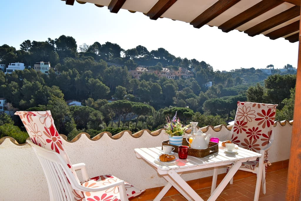 Covered terrace with sea view - SA PUNTA COSTA BRAVA