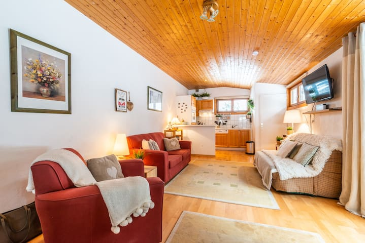 Cosy 7 bed ski-in/out with large balcony