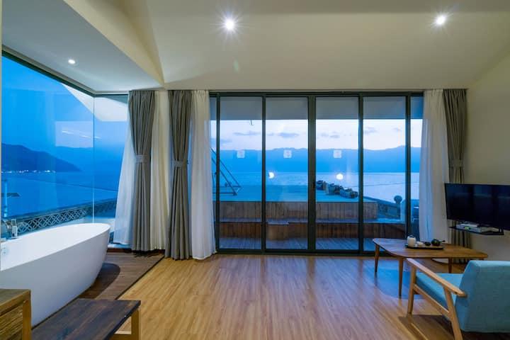 洱海海鸥季,两晚免费接机/含早,270度海天一色独享露台浴缸海景大床房