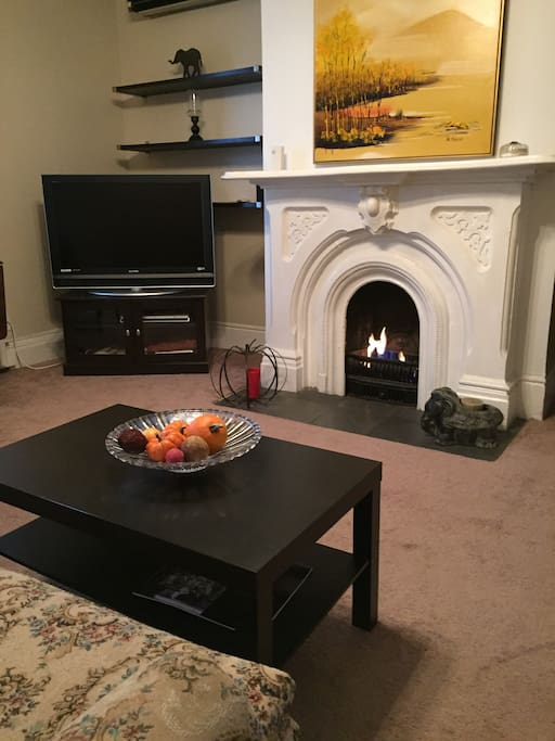 Fireplace turns on with a switch on the left side to quickly create a beautiful fire