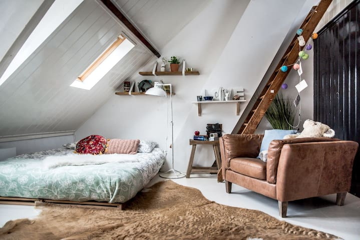 Attic space with private shower and toilet