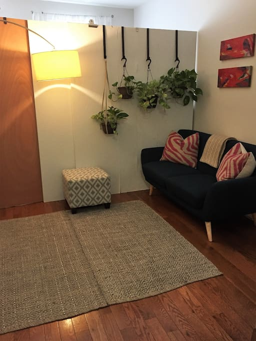 Small but cozy living room. Perfect place to hang out before heading out to see the city.