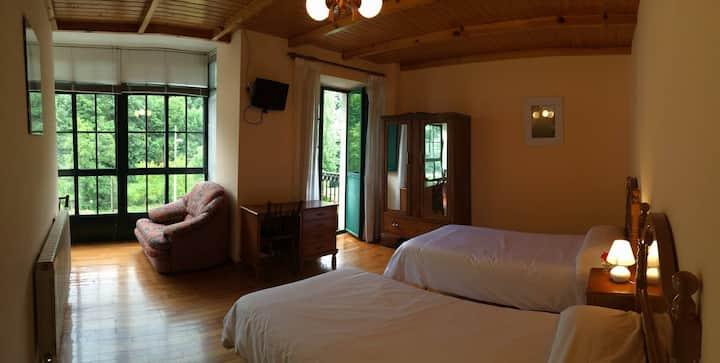 Habitación doble, baño privado, ventanal y balcon