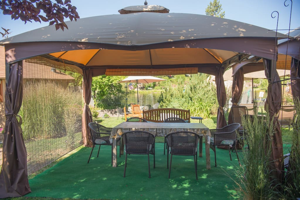 Two Gazebos with seating for 12+ guests.