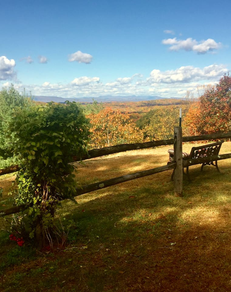 Peak foliage at Cliff Top! The 'Gunks' and the Catskill High Peaks can be seen in the distance.