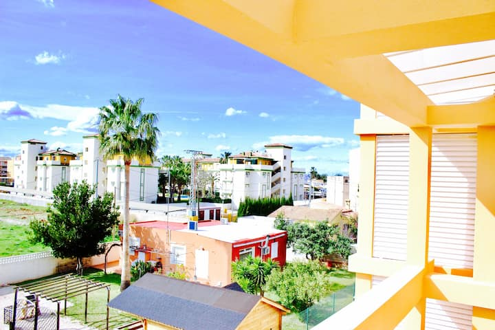 Apartment with one bedroom in Dénia, with wonderful mountain view, shared pool, enclosed garden - 300 m from the beach