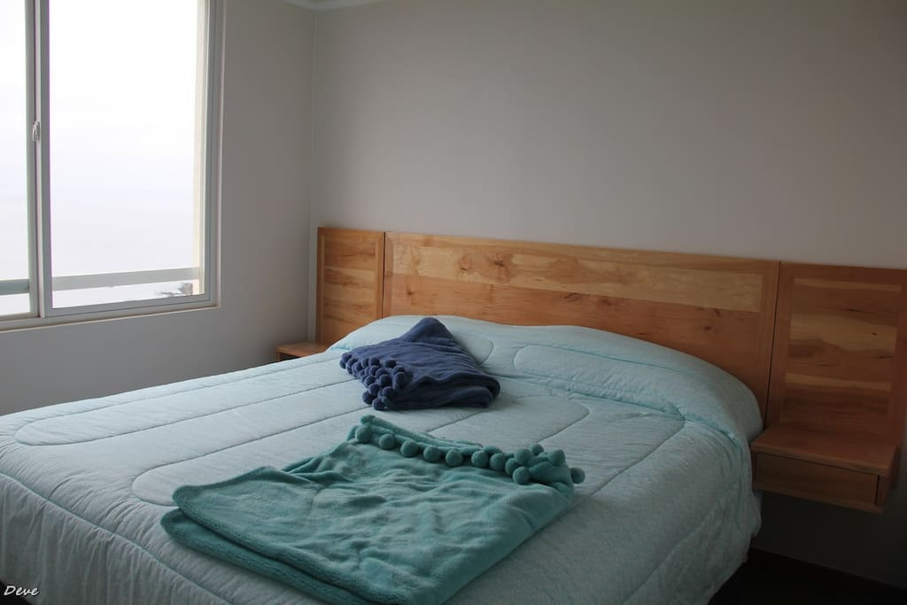 The master bedroom is comfortable, it has a King Size bed with a full bath and its closet