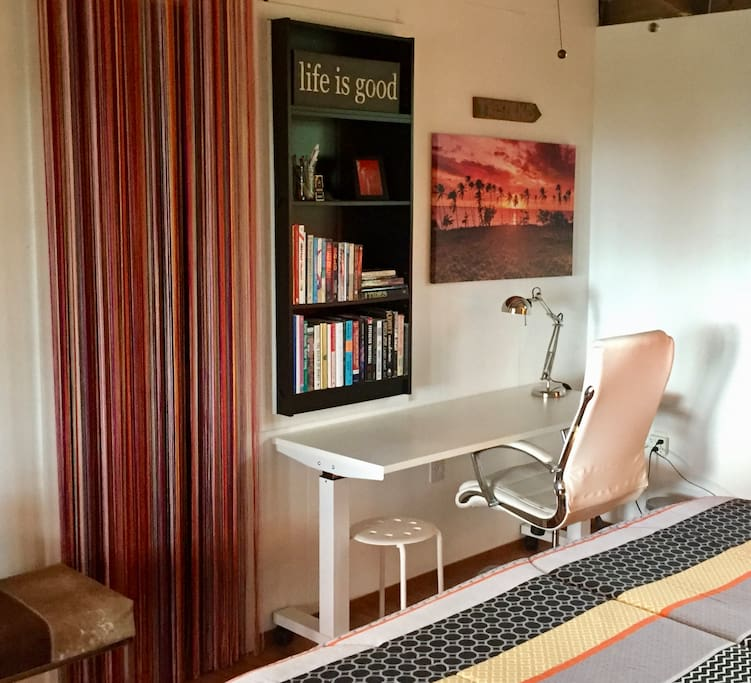 I have a spacious workspace in the bedroom, should you need to complete tasks during your stay.