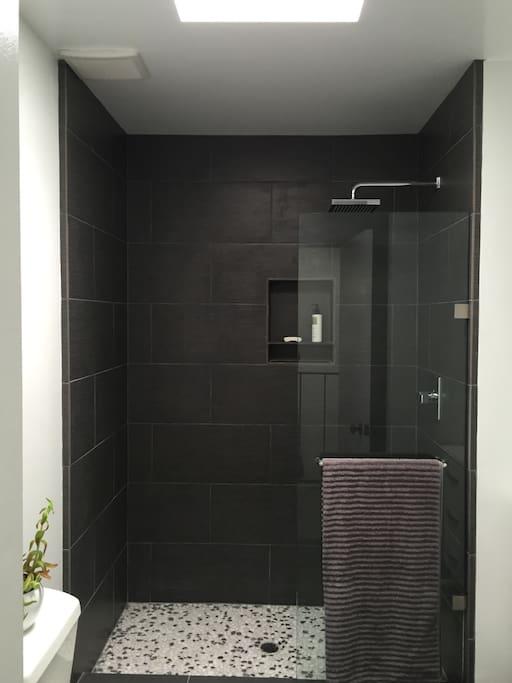 Beautiful walk in rain shower with skylight in main bathroom