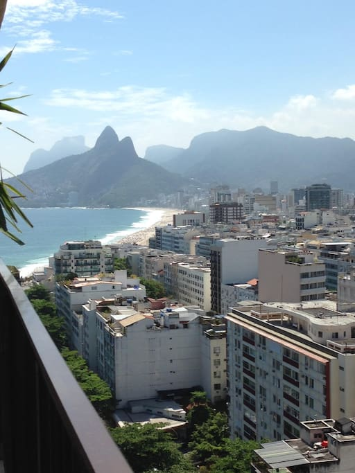 Front balcony view of Ipanema and Leblon beaches