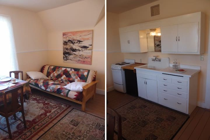 Kitchen table + couch, counter, cabinets, sink, stove and refrigerator.