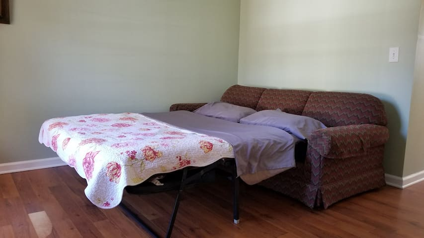 Sitting/bedroom 4 with queen size sleeper sofa. Bedroom format set up for parties of 7+ guests. If your party is smaller, but you want an extra bed please let us know in advance and we will set it up for you.