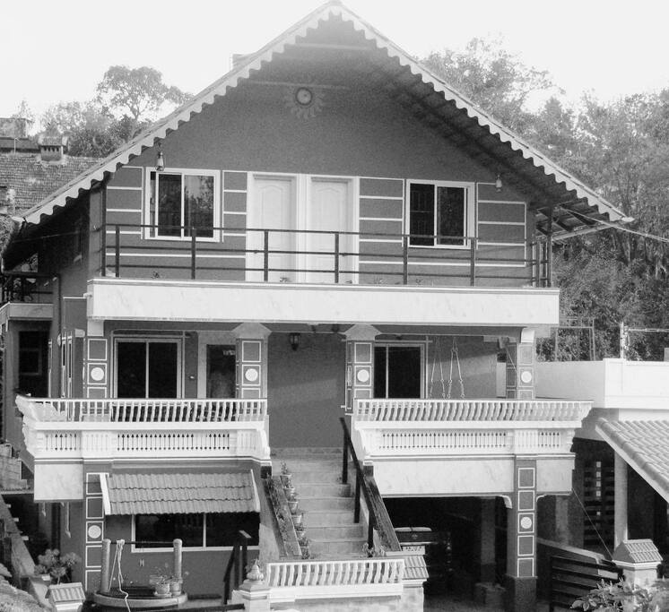 Exterior, black and white view.