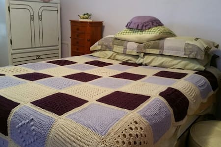 Comfortable bed in happy home - House