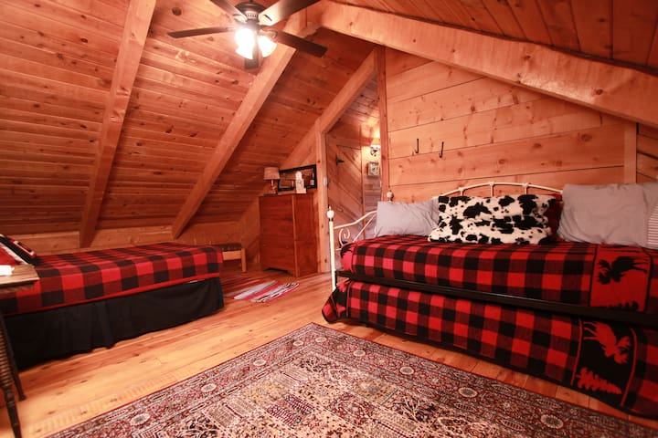 Upstairs bedroom #3 with 3 beds