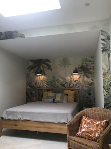 Chambre avec lit 160/200 avec fenêtre de toit électrifié avec volet