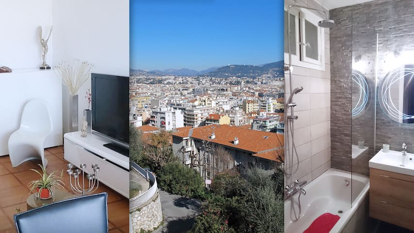 Flat Design & friendly in Nice with 2 real beds!