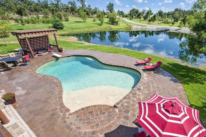 Luxe Norman House w/ Lake & Pool on 12.5 Acres!