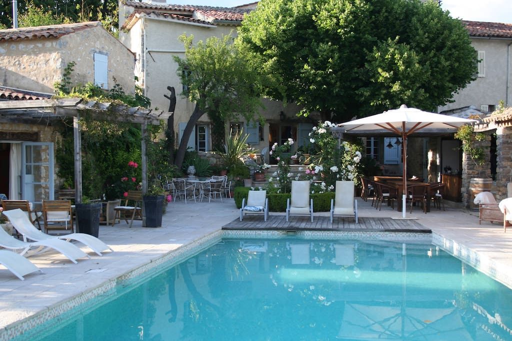 pool, terrace & house