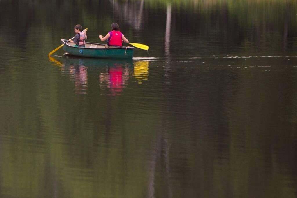 Canoe on our peaceful small lake.