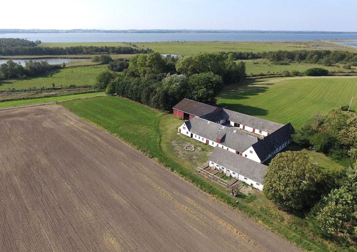 Bo på en gård midt i naturen langt ude på landet.