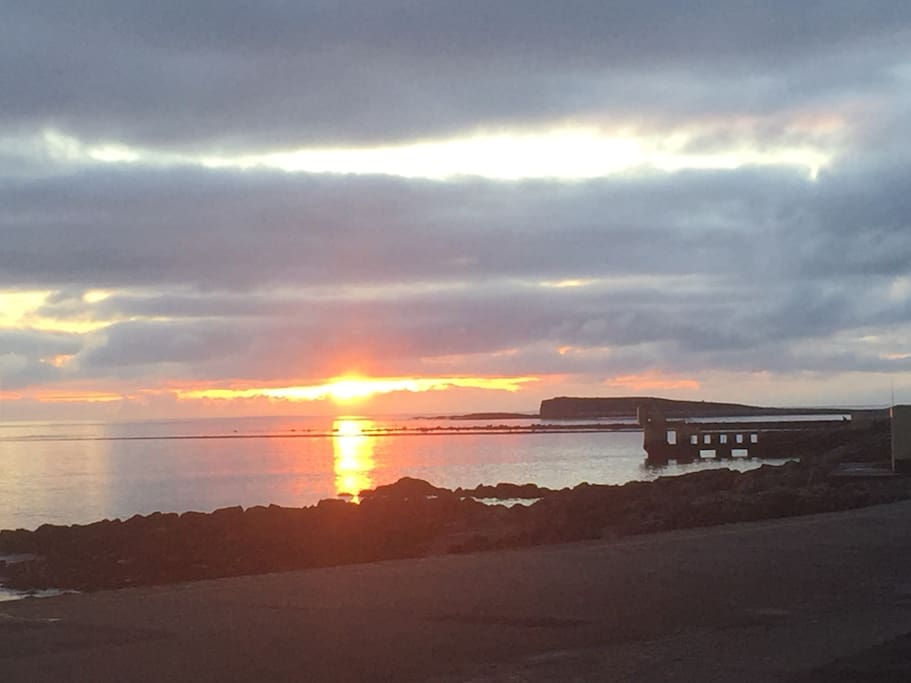 Sun setting on Galway Bay
