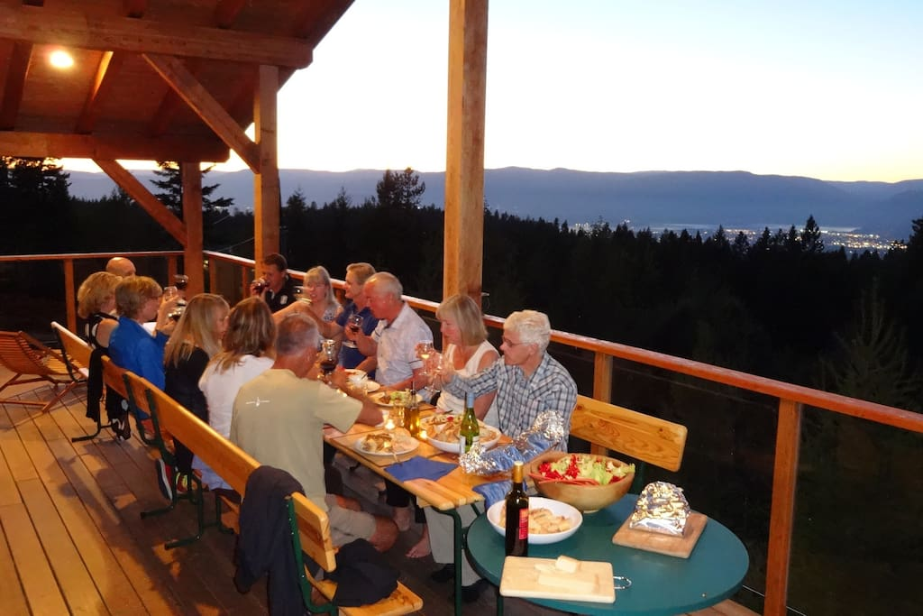 B&B decks with a view over lake and valley