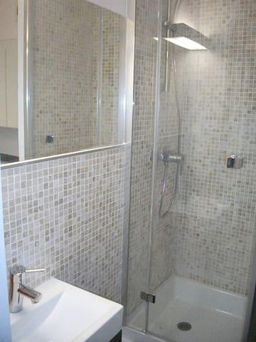 Salle d'eau avec lavabo, douche et WC suspendu photo 2