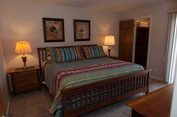 Master bedroom has a king bed and walk in closet.
