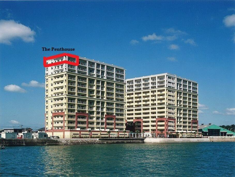 The penthouse highlighted in red