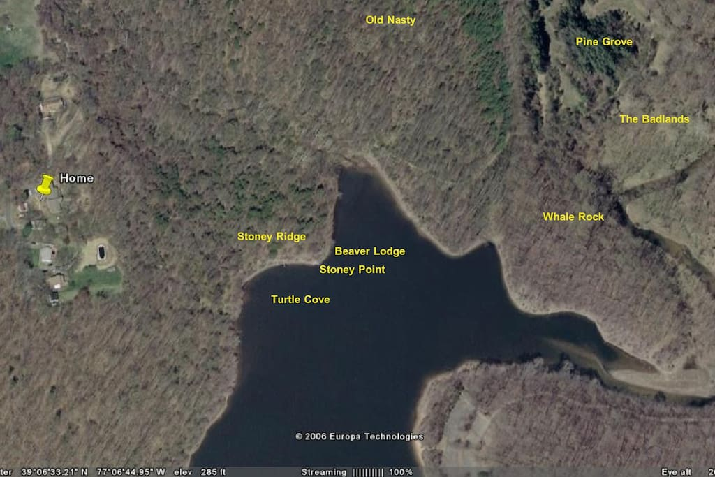 Lake Frank - Yellow pin shows house location