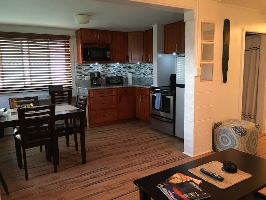 Full Kitchen, New cabinets & granite countertops, Electric stove, Microwave oven, toaster oven, coffee maker, blender, etc