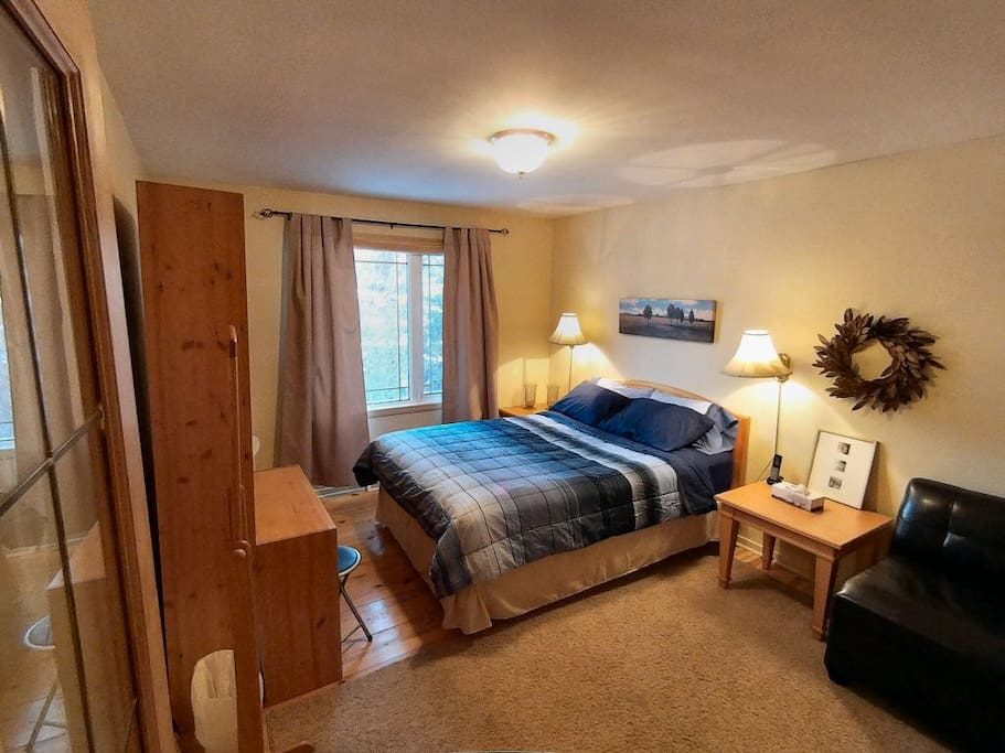 The master bedroom has plenty of space and closets and built in dressers.