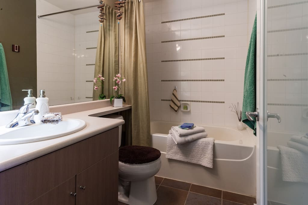 Private bathroom only you will use during your stay. Extra clean tub perfect for a long soak. There are bath products hair dryer and other necessities that may have been forgotten along with extra soap
