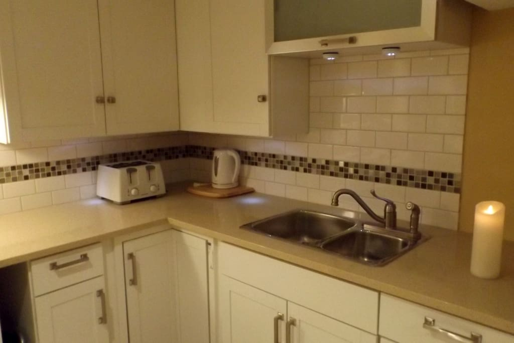 Close up view of kitchen.