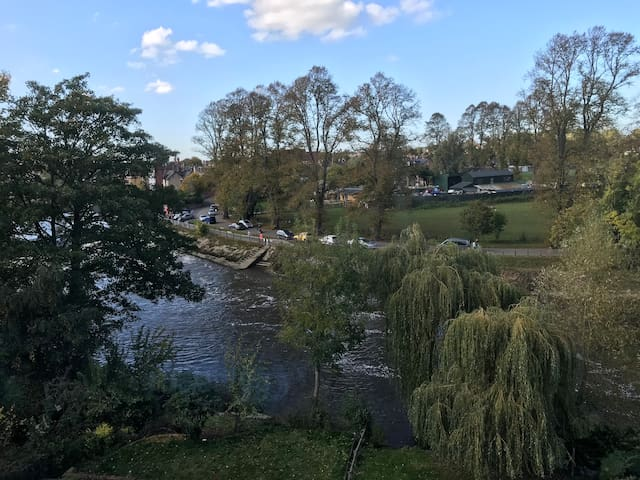 Bedroom view of the river towards the weir - what a wonderful way to start the day!