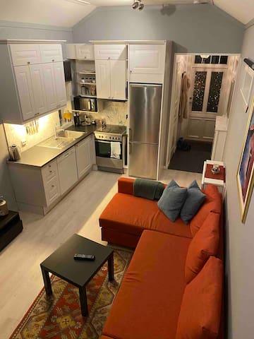 Kjøkken/stue med sovesofa for 2 personer