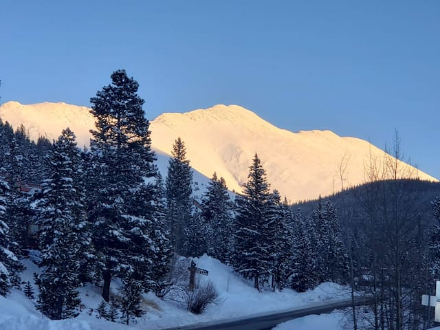 Baldy Mountain illuminated by sun - hike it from our cabin in the summer