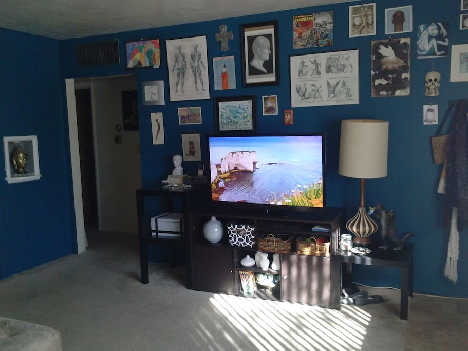 large tv with apps, netflix, hulu and plenty of art