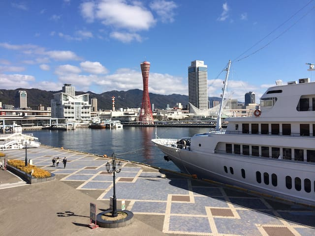 You can see beautiful daylight sea and mountain view from Kobe port. 15 minutes by bicycle.