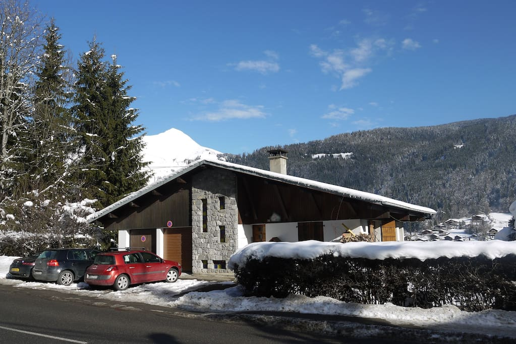 View of exterior with Nantaux in background  - Winter!