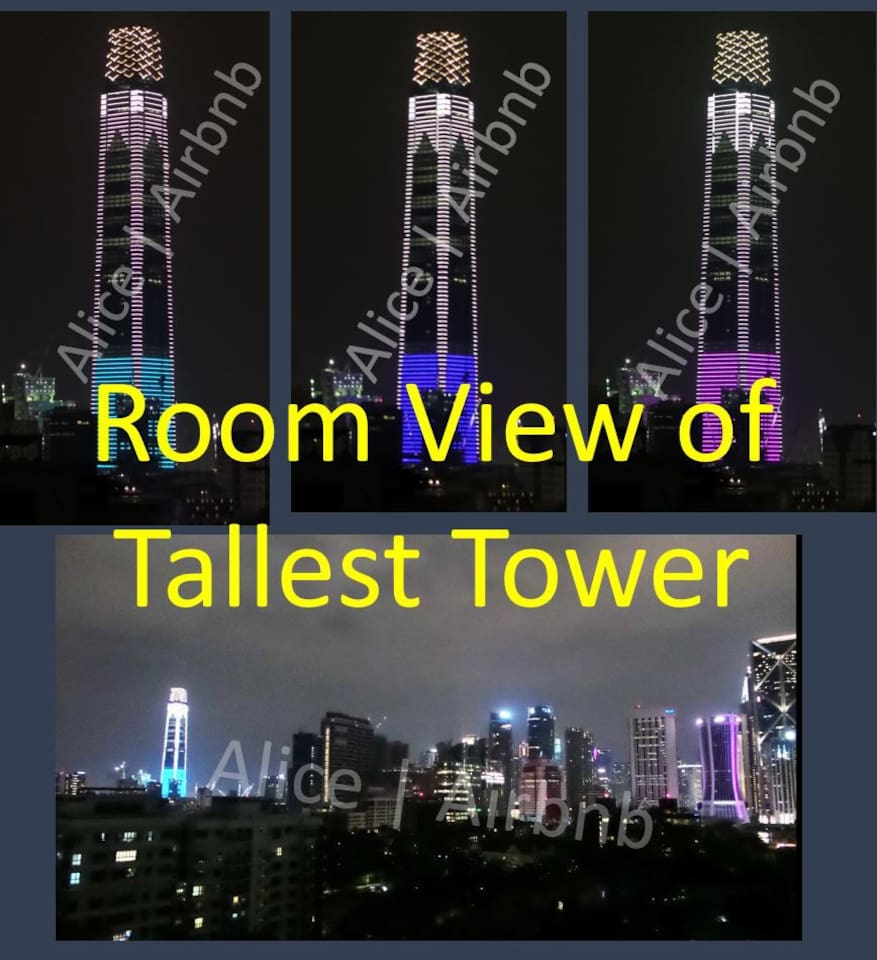 You can enjoy nice City view and Tallest tower from your room at night.  Tower is powered by colourful LED lights.