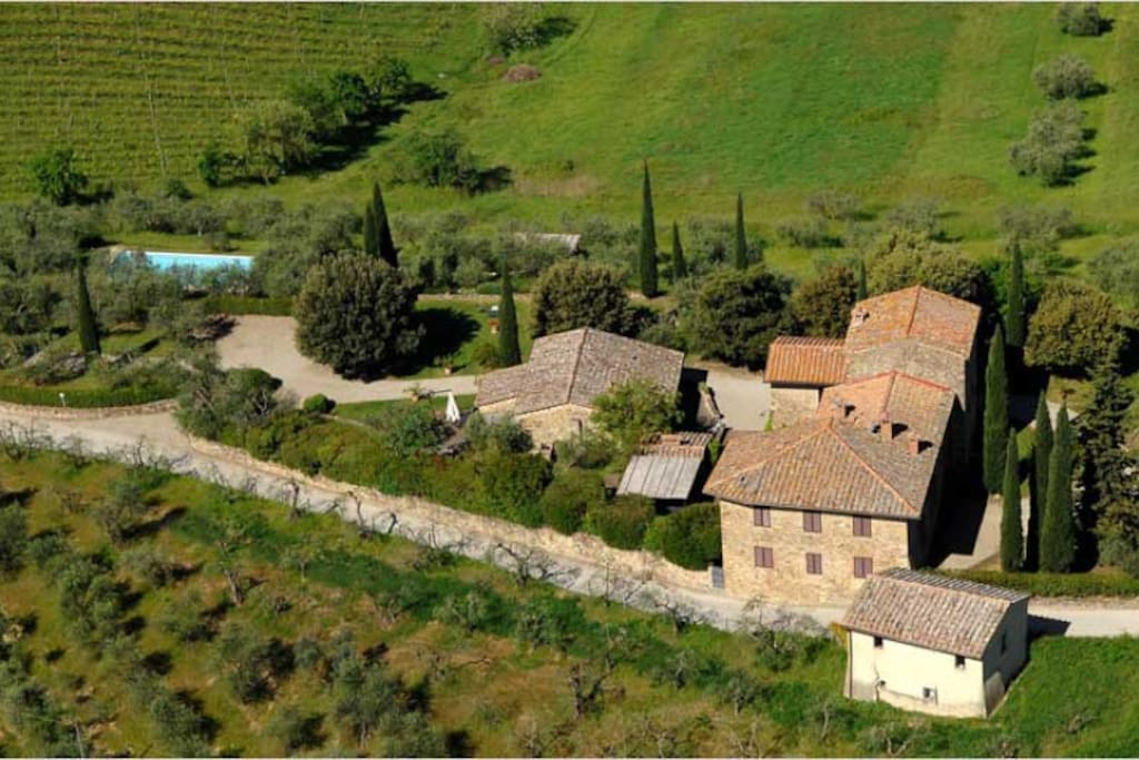 Panoramic View of the Farm surrounded by Olive Groves, Vineyards and Cypresses