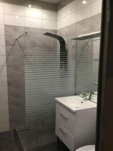 Salle de bain avec wc et douche à l italienne