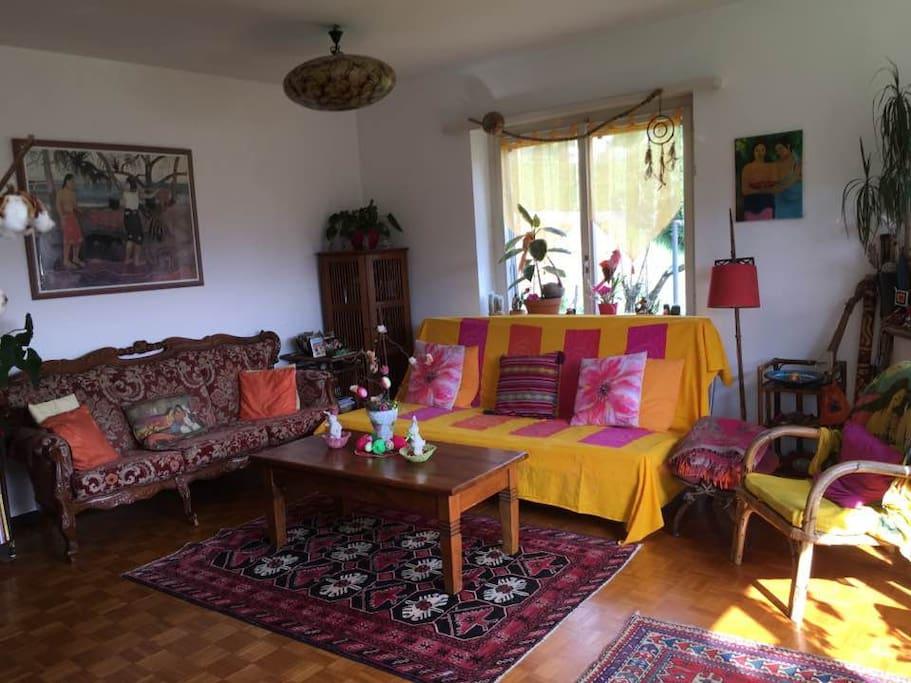 Sala con TV, caminetto e divano-letto
